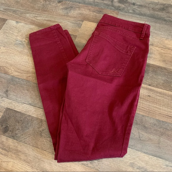 Express maroon burgundy red skinny jeans